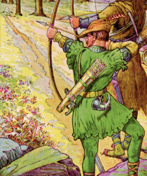 Robin Hood portrayed as an archer